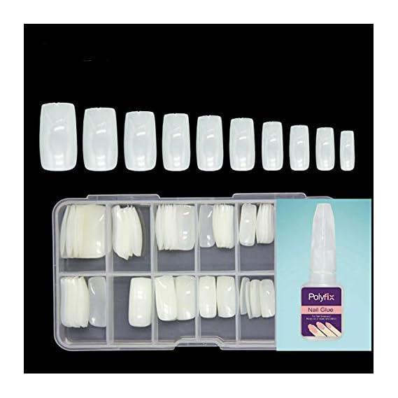 BEAUTRISTRO Artificial Nails Set With Glue Acrylic Face Nails Set Of 100 Pcs and Artificial Nail Glue 10gm Artificial