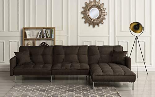 Modern Linen Fabric Futon Sectional Sofa, 110.6