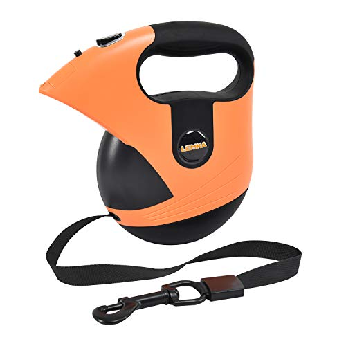 Retractable Dog Leash, 16 Feet Heavy Duty Retractable Dog Leash with Light for Walking Dog Up to 170lb,Walking Free Leash with One-Handed Brake, Pause, Lock, Build-in LED Flashlight (Orange)