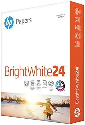 HP Paper Printer Paper 8.5x11 BrightWhite 24 lb 1 Ream 500 Sheets 100 Bright Made in USA FSC Certified Copy Paper Compatible 203000R