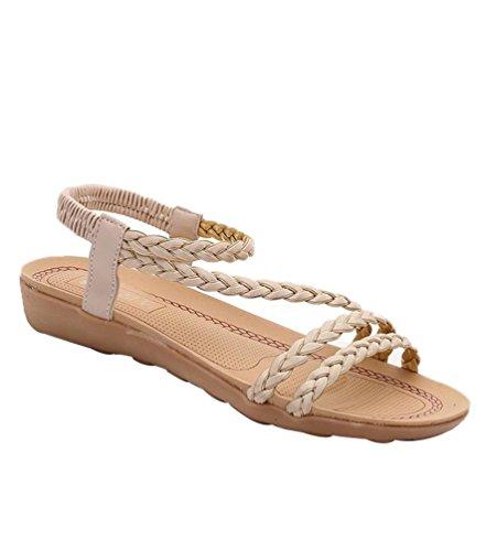 YOUJIA Mujeres Boho Zapatos Sandalias de Playa Planas Chanclas Peep Toe Sandalias del Verano Romanas Beige