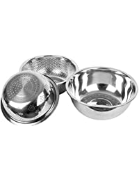 Bargain Bumud Stainless Steel Mixing Bowls Colander Sieve for Baking and Cooking - Set of 3 Different Sizes cheapest