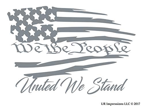 (UR Impressions Silv We The People United We Stand - Tattered American Flag Decal Vinyl Sticker Graphics for Cars Trucks SUV Vans Walls Windows Laptop|Silver|7.5 X 5.1 inch|URI490-S)