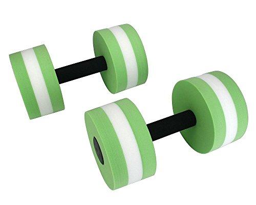 Adahill(TM) Sport Water Weight Aerobics EVA Dumbbell Meduim Aquatic Barbell Fitness Aqua Pool Exercise Training Fitness Equipment (1 Pair Green)