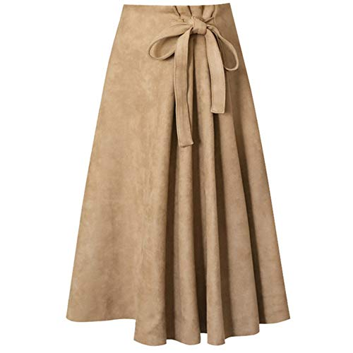 Suede Skirt Long (KoHuiJoo Long Faux Suede Skirt Women Plus Size Knee Length High Waist Casual A Line Skirts with Bow Tie (Khaki, XL))