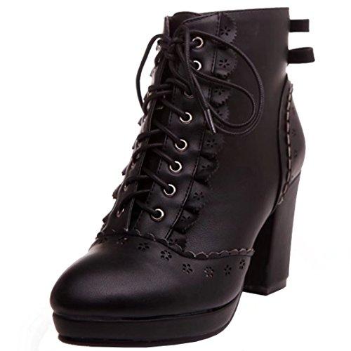 AIYOUMEI Damen Blockabsatz Stiefeletten mit Schleife und Spitze Herbst Winter Schnürstiefeletten Schuhe wWZhgztNY0