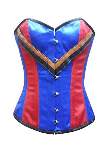 王位ホイッスル乙女Red Blue Satin Leather Gothic Steampunk Waist Training Bustier Overbust Corset