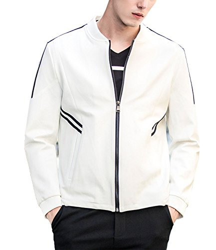 Nidicus Men Stylish Solid Slim Stand-up Collar Full Zipper Jacket Outwear White S - Elegant Standing Collar