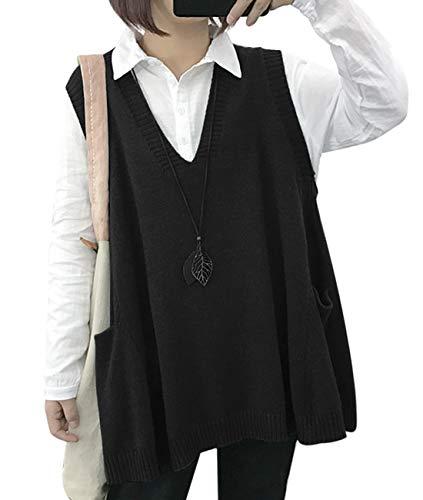 YESNO WM9 Women Casual Cute Sweater Vest Loose Swing Hemline/Pockets (L, WM9 Black)