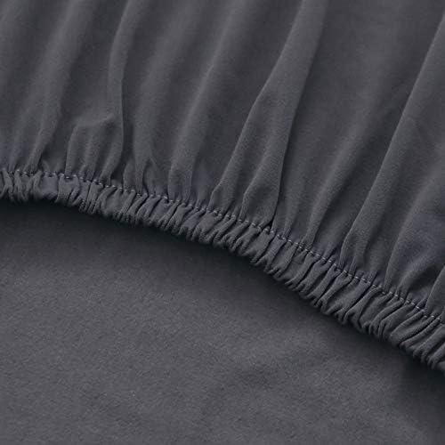 FORCHEER Materiale per Banchetti Jacquard con griglia a Soffietto PlushTouch Morbido per Coprire sedie da Pranzo Grigio Chiaro//Set di 4