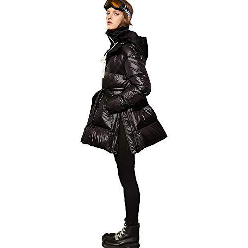 Nuovo Stand Di Riempiendo Indispensabile Ainif Abbassati Cappotto Donne Incappucciato Black Collare Giacca Inverno È tq1ET