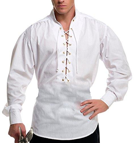White Zorro Costume (Eyelet Pirate Shirt Adult Costume White - Medium)