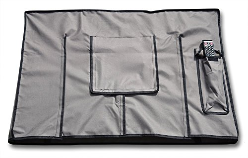 Outdoor TV Cover Weatherproof Universal Television Protector for 50'' - 55'' LED, LCD, PLASMA | Remote Control Storage Pocket | Industrial Quality Velcro | Compatible with Most Mounts and Stands