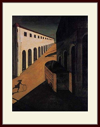 キリコ「通りの神秘と憂鬱」 プリキャンバス複製画 額付き(デッサン額/大衣サイズ) B00PFZ2BUW