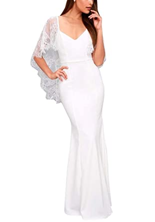 Anyu Womens Lace Maxi Long Evening Prom Dress Slim Bodycon Party Dresses Ball Gown White S