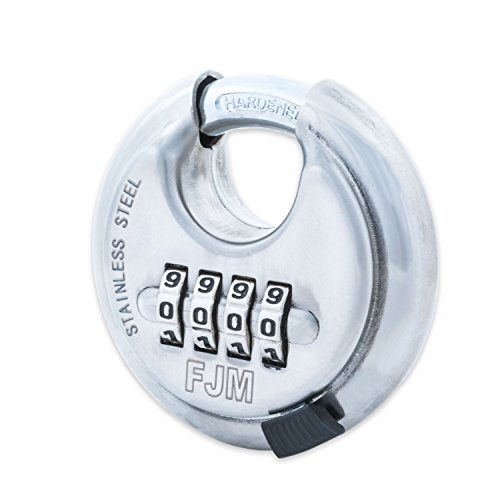 Keyless Padlocks (FJM Security SX-790 4-Dial Combination Disc Padlock With Shielded Hardened Steel Shackle and 10,000 Possible)