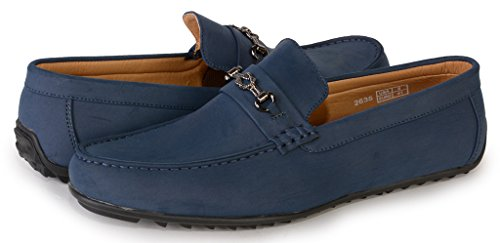 [2635-navy-9] Men's Slip-On Driving Shoes: Casual Loafers Comfort Boat Shoe