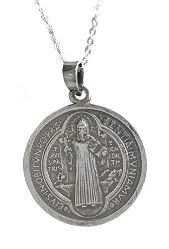 Alylosilver Collar Colgante Medalla de San Benito de Plata para Hombre Mujer - Incluye Cadena de Plata de 45 cm y Estuche para Regalo