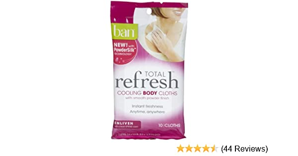 Amazon.com: Ban, Total Refresh Cooling Body Cloths, Enliven, 10 Ct (Pack of 4): Beauty