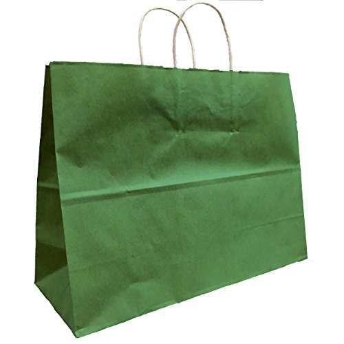 Green Extra Large Kraft Shopping Bags Vogue 16 W x 12 H x 6 gusset, Set of 25, Made in USA (Vogue Green)