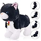 Black Plush Robot Cat Stuffed Animal Interactive