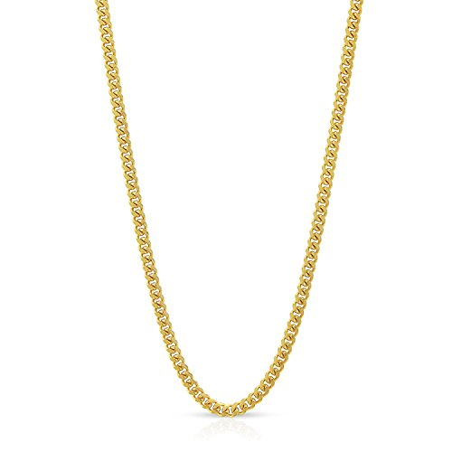 10k Yellow Gold 1.5mm Solid Miami Cuban Curb Link Necklace Chain 16'' - 30'' (18) by In Style Designz