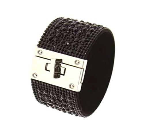 bijoux fantaisie femme bracelet manchette noir à strass