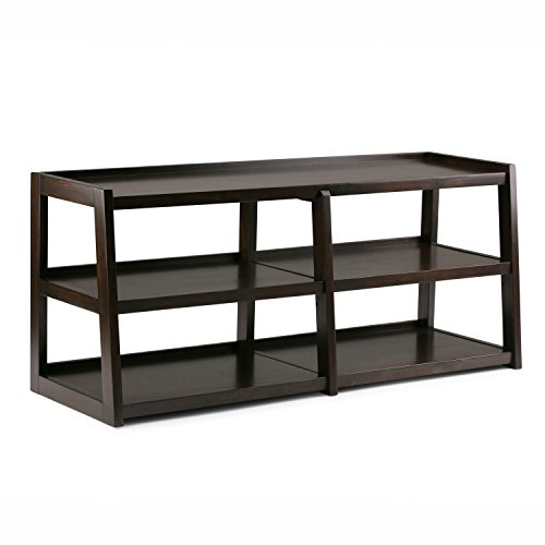Dark Brown Lacquer (Simpli Home Sawhorse Solid Wood Wide TV Media Stand, Dark Chestnut Brown)