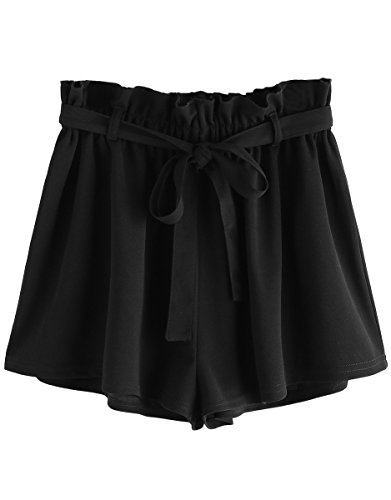 Romwe Women's Casual Elastic Waist Summer Shorts Plain Jersey Shorts Black ()