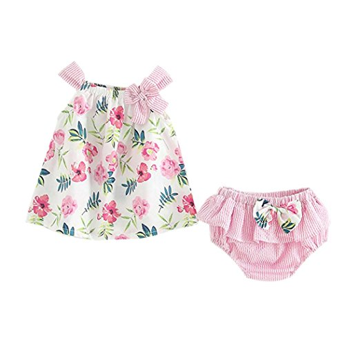 Counjunto de Ropa bebé niña Verano ❤ Amlaiworld 2pcs Bebés niñas impresión Floral Tops Chaleco + Pantalones Cortos a Rayas Trajes Ropa Conjunto: ...