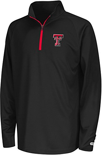 Colosseum Youth Texas Tech Red Raiders Black Draft Performance Quarter-Zip (L) by Colosseum