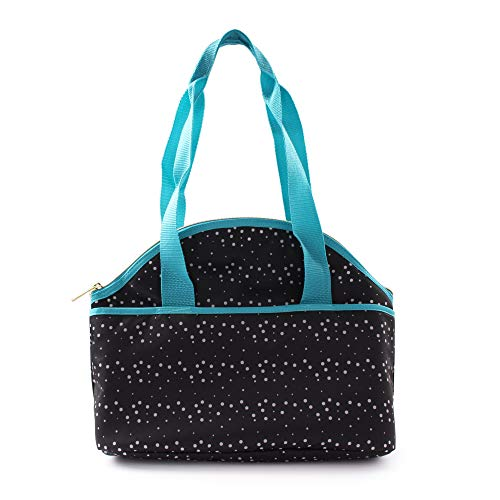 (Sheffield Home Reusable Insulated Lunch Tote with Zipper and Extra Long Handles for Adults, Seniors and Teens with Side Pocket (Black w/White Polka Dot Pattern and Blue Handles))