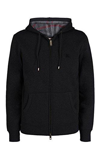 Burberry Hoody - BURBERRY Mens Claredon Black Zip Hoody Jersey Top Signature Logo & Check Size XL