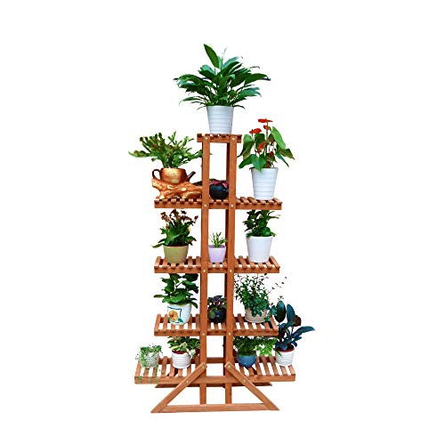 Leisure Season PS1187 5-Tier Indoor and Outdoor Plant Stand - Raised Wooden Vegetable and Flower Bed - Patio, Garden, Deck, Balcony Furniture - Tall Storage Organizers for Plants, Succulents, Cypress