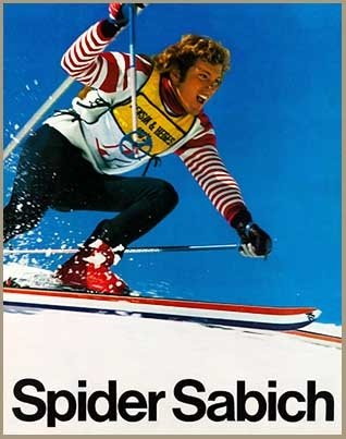(Vintage Ski World Spider Sabich Racing on His K2 Skis Poster, Size 22 x 28 inches)