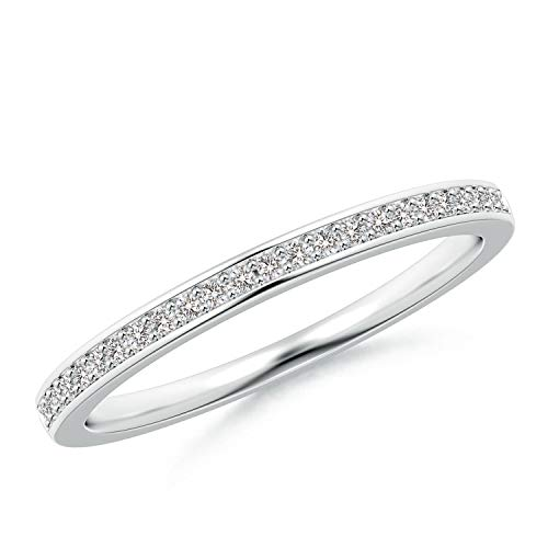 Platinum Pave Set Diamond Band - Pave Set Half Eternity Women's Diamond Wedding Band in Platinum (1mm Diamond)