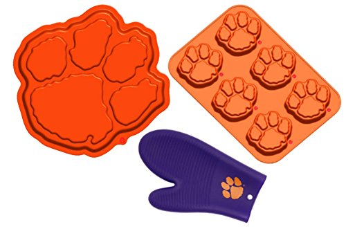 Clemson Tigers Silicone Baking Bundle: Paw Print Cake Pan, Muffin Pan, and Oven Mitt by FANPANs