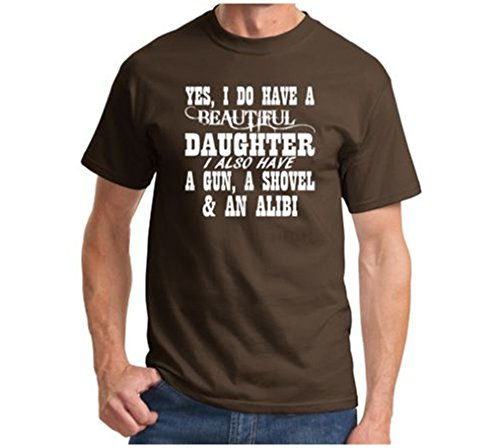 Yes I Do Have A Beautiful Daughter A Gun Shovel Funny T Shirt Father's Day Gun Brown (Samsung Galaxy Rug By)