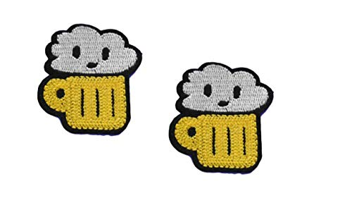 - 2 Pieces Beer Lager Iron On Patch Fabric Applique Food Drink Motif Children Scrapbooking Decal 1.73 x 1.61 inches (4.4 x 4.1 cm)