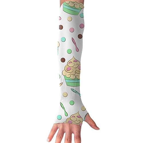 HBSUN FL Unisex Cute Cartoon Cupcake Anti-UV Cuff Sunscreen Glove Outdoor Sport Riding Bicycles Half Refers Arm Sleeves by HBSUN FL