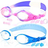 COOLOO Kids Swim Goggles, Pack of 2, Swimming Glasses Children Early Teens from 3 to 15 Years Old, Anti-Fog, Waterproof, UV Protection