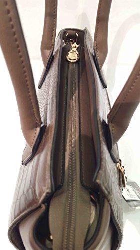 Beverly Hills POLO Club Borsa donna due manici effetto coccodrillo colore moro BH711