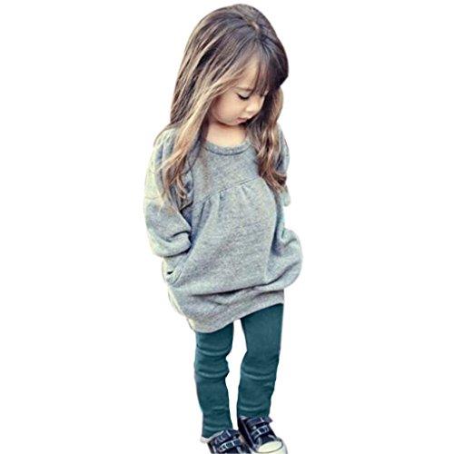 (haoricu Girls Clothes Set, 1Set Baby Girls Outfit Long Sleeve T Shirt +Long Pants (5T, Gray))