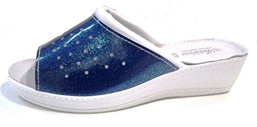 ANNARITA - Zapatillas de estar por casa de piel sintética para mujer azul turquesa 37