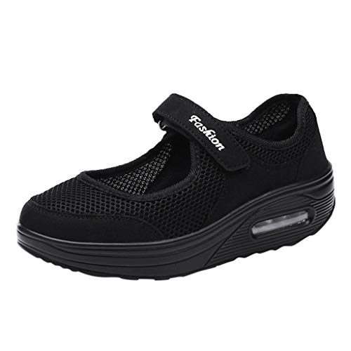 - Dasuy Womens Breathable Lightweight Mesh Running Sneakers Platform Wedge Slip-On Driving Loafers Air Cushioned Shoes (US:7.5, Black)
