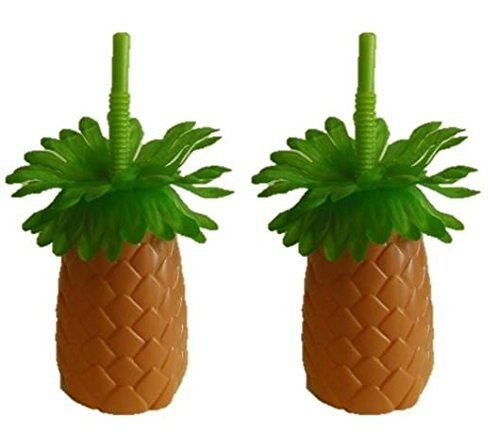 Luau Pineapple Palm Tree Sipper Bottles Cups with Straws, 22 ounces, 2-ct Set ()
