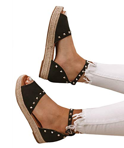 (Womens Open Toe Espadrille Ankle Strap Boho Lace Up Rivet Flatform Sandals (40 EU-10.58in(Foot Length)-9 US, F Black))