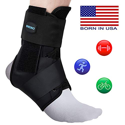 SNEINO Ankle Brace,Lace up Ankle Brace,Ankle Brace for Women &Men,Kids Ankle Brace,Ankle Brace for Sprained Ankle,Ankle Supports for Women,Ankle Brace Stabilizer (Large, Ankle Support) ()