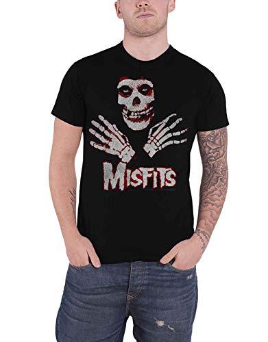 Misfits T Shirt Jarek Hands Skull Band Logo Official Mens Black Size M