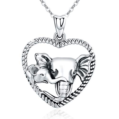 S925 Sterling Silver Elephant Animal Necklace Lucky Cute Elephant Pendants Love Heart Rope Style Women New Mom Mother Necklace Gift Daughter Son